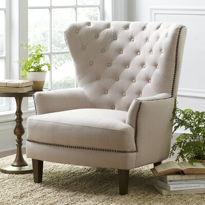 Gaines Wingback Chair Upholstery: Parchment