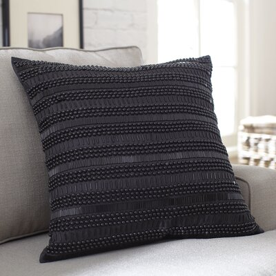 Minerva Beaded Pillow Cover Color: Black