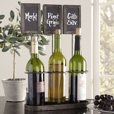 Chalkboard 3 Bottle Tabletop Wine Rack
