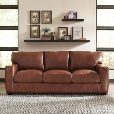 Pratt Leather Sofa Upholstery: Vintage Flint