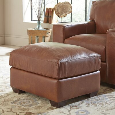 Pratt Leather Ottoman Upholstery: Steamboat Putty