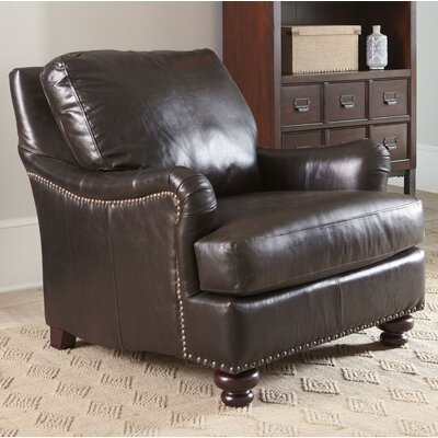 Montgomery Leather Club Chair Upholstery: Steamboat Charcoal, Nailhead Detail: Yes
