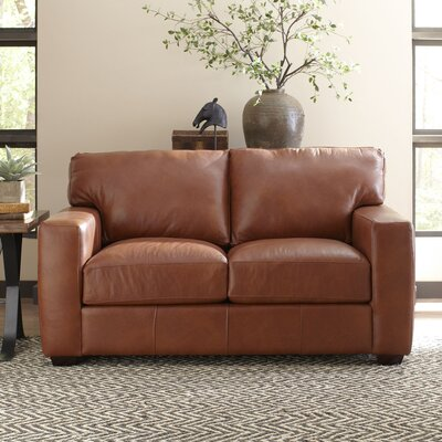 Pratt Leather Loveseat Upholstery: Steamboat Charcoal