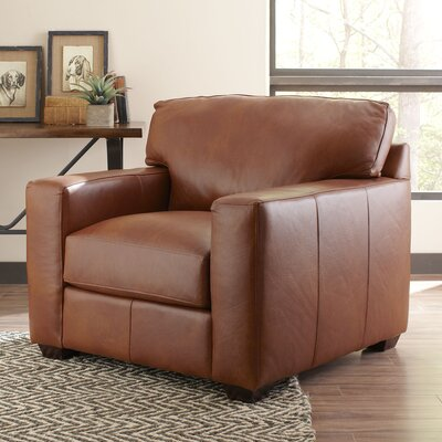 Pratt Leather Armchair Upholstery: Steamboat Putty