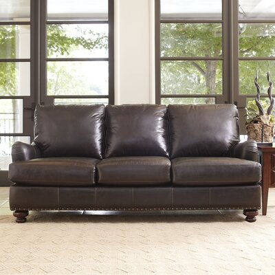 Montgomery Leather Sofa Upholstery: Steamboat Charcoal, Nailhead Detail: Yes
