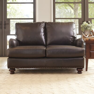Montgomery Leather Loveseat Upholstery: Steamboat Putty, Nailhead Detail: No