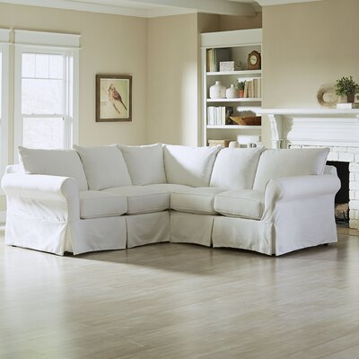 Jameson Slipcovered Symmetrical Sectional Upholstery: Microsuede Oyster