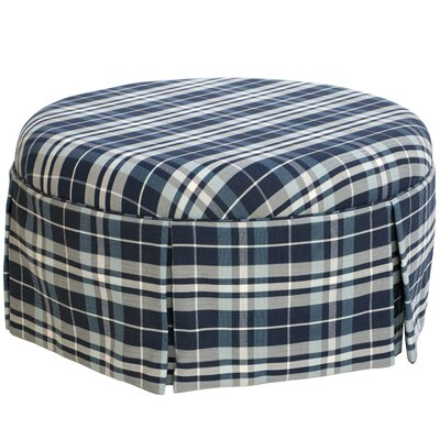 Furniture-Tobin Cocktail Ottoman Upholstery Holmes Navy Plaid