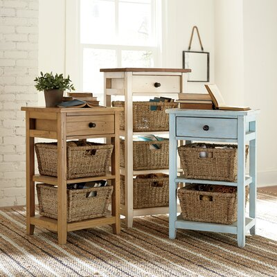 Driscoll Storage Table Size: 3 Basket, Finish: White