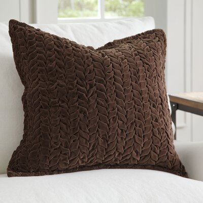 Allie Velvet Quilted Pillow Cover Color: Brown
