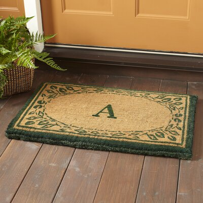 Leaf Border Monogrammed Welcome Doormat