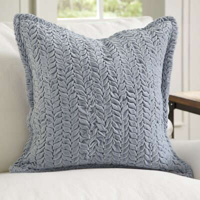Allie Velvet Quilted Pillow Cover Color: Blue