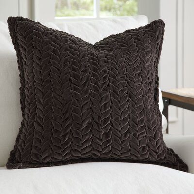 Allie Velvet Quilted Pillow Cover Color: Charcoal