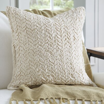 Allie Velvet Quilted Pillow Cover Color: Ivory