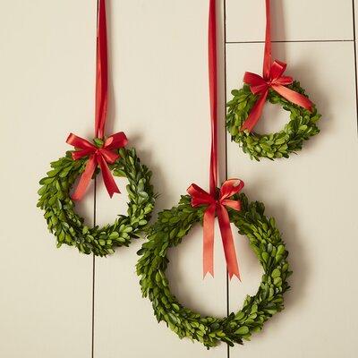 3-Piece Preserved Boxwood Wreath Set