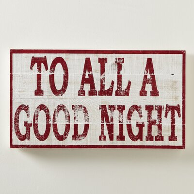 To All a Good Night Plaque