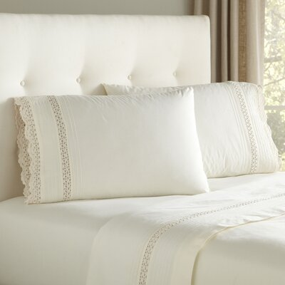 Claire Crocheted Sheet Set Size: Queen, Color: Ivory