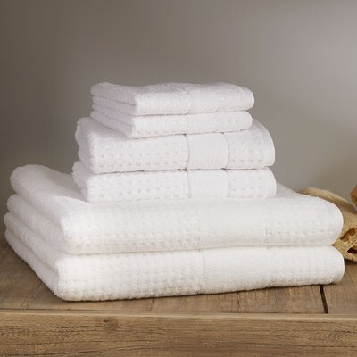 Hallie 6 Piece Towel Set Color: White