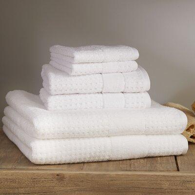 Hallie 6 Piece Towel Set Color: White