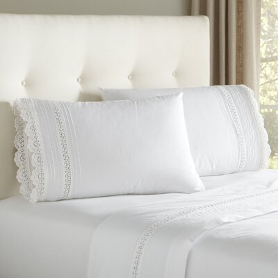 Claire Crocheted Sheet Set Size: King, Color: White