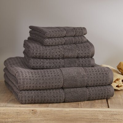 Hallie 6 Piece Towel Set Color: Charcoal