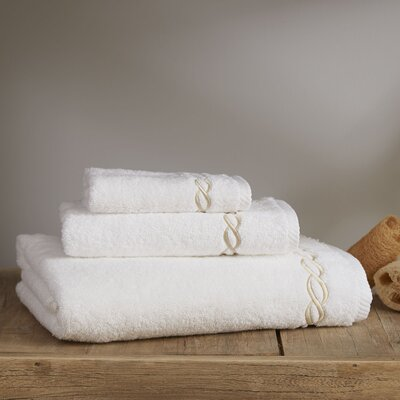 Willow Towel Color: White/Beige, Size: Bath Towel