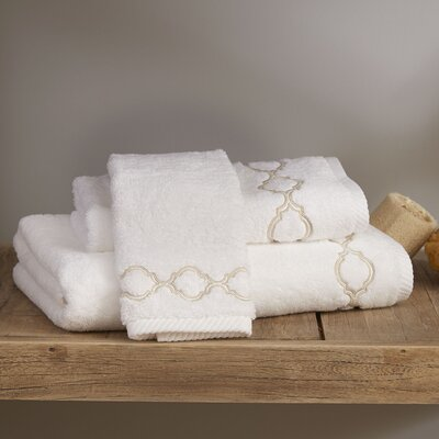 Pacey Towel Color: White/Brown, Size: Washcloth
