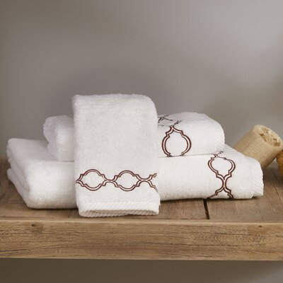 Pacey Washcloth Color: White/Brown, Size: Hand Towel