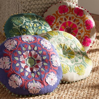 Marrakesh Embroidered Linen Pillow Color: Magenta