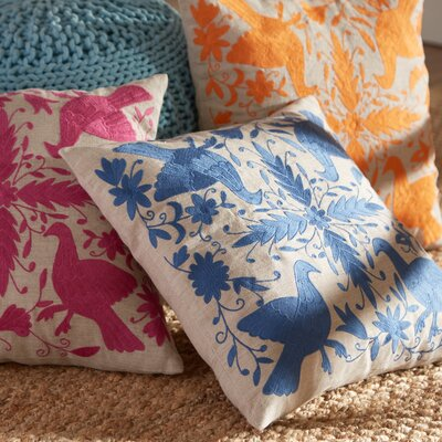 Satara Embroidered Pillow Cover Color: Indigo, Size: 18 H x 18 W x 1 D