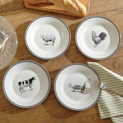 4-Piece Farm Animal Dessert Plate Set