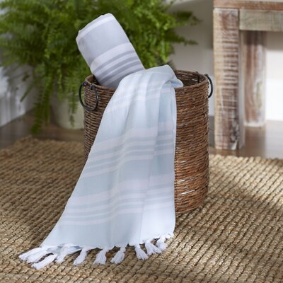 Adrienne Striped Fouta Towel Color: Soft Aqua