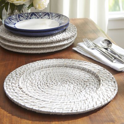 Round Rattan Chargers Color: White