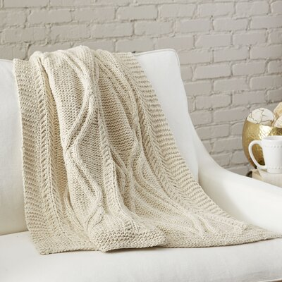 Jordan Cable-Knit Throw Color: Natural
