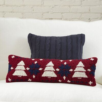 Pine Tree Fair Isle Hooked Lumbar Pillow