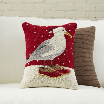 Seagull Christmas Hooked Pillow