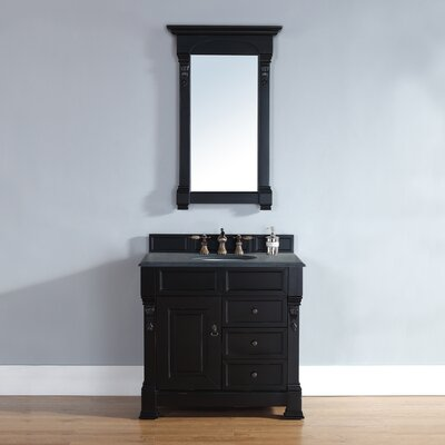 Stockbridge 36 Single Vanity Set Base Finish: White, Top Finish: Rustic Black