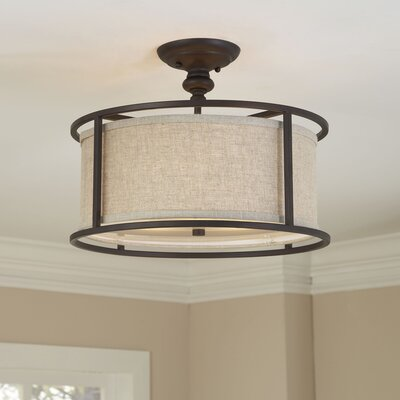 Elmhurst 3-Light Semi Flush Mount Finish: Burnished Bronze, Shade Color: Beige
