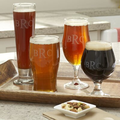 Hops Monogrammed Beer Glasses