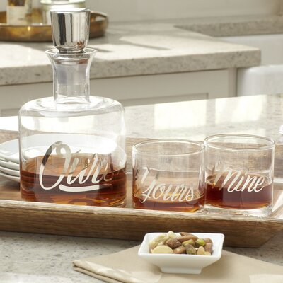 Yours & Mine 3-Piece Decanter Set Finish: Silver