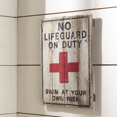 No Lifeguard Plaque