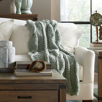 Effie Cable-Knit Throw Color: Sage