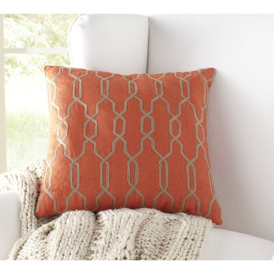 Hayley Decorative Linen Pillow Cover Size: 22 H x 22 W x 1 D, Color: Bright Orange/Beige