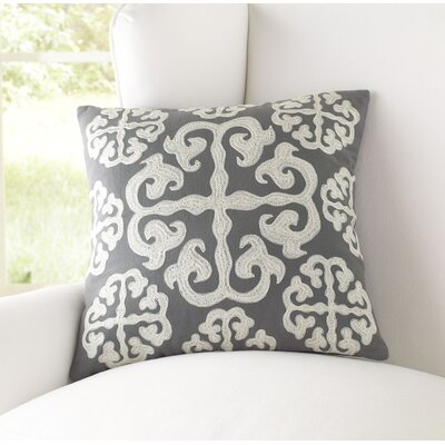 Opal 100% Cotton Pillow Cover Size: 22 H x 22 W x 1 D, Color: Gray & Ivory