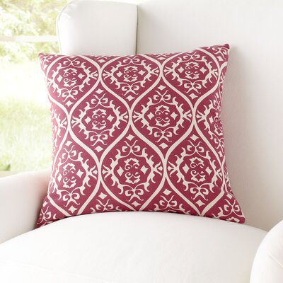 Daisy Cotton Pillow Cover Size: 22 H x 22 W x 1 D, Color: Bright Pink & Ivory