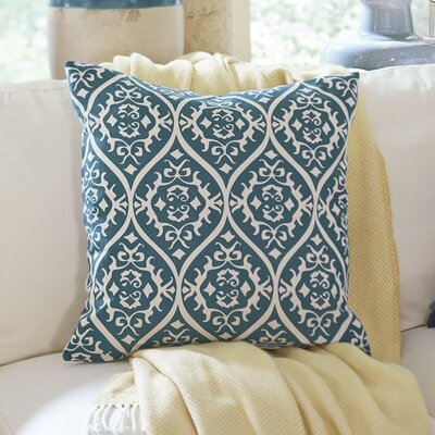 Daisy Cotton Pillow Cover Size: 22 H x 22 W x 1 D, Color: Bright Blue & Ivory