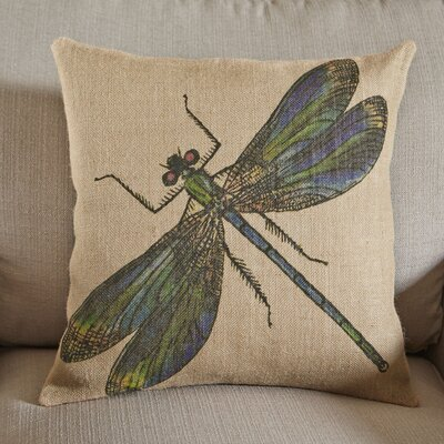 Dragonfly Burlap Pillow