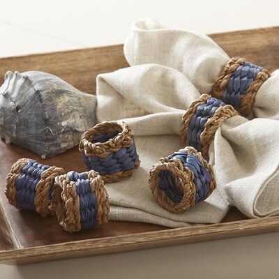 Tennille Woven Napkin Rings (Set of 6) Color: Navy