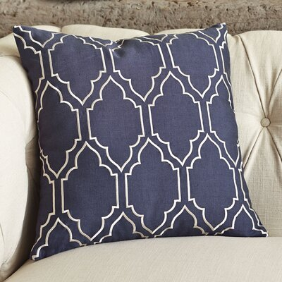 Lacey Linen Pillow Cover Size: 18 H x 18 W x 1 D, Color: Navy