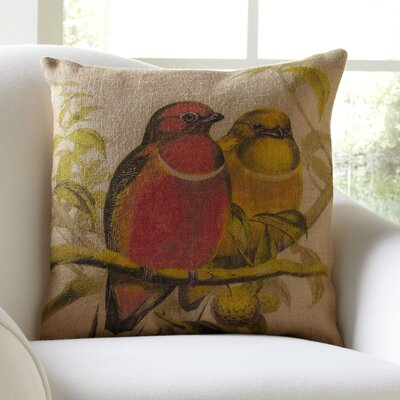 Feathered Friends Burlap Pillow Cover
